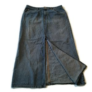 Old Navy Long Denim Skirt 14 maxi Jean Front slit